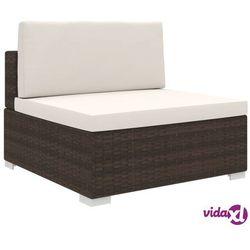 vidaXL Środkowa sofa z poduszką, polirattan, brązowa