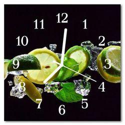 Zegar szklany kwadratowy Limonka cytrynowa
