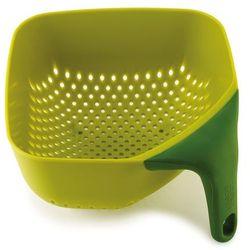Średni, kwadratowy durszlak z silikonową rączką JJ 40056 zielony Plus