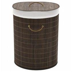 Elior Bambusowy owalny pojemnik na pranie lavandi 3x - ciemnobrązowy