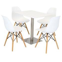 zestaw biały stół 60x80 na chrom + 4 krzesła kr012 marki Sk design