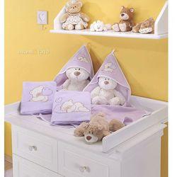 Mamo-tato kocyk polarowy śpiacy miś w fiolecie