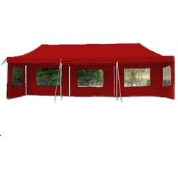 Pawilon ogrodowy rozkładany 3 x 9 m - czerwony