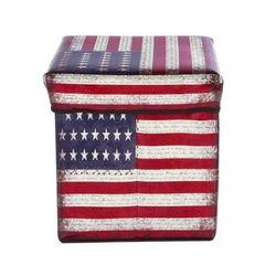Pufa składana schowek do 100 kg flaga usa marki Bertoni