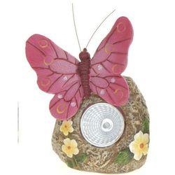 Lampa solarna motyl różowy figurka kamienna - wzór iii, marki Progarden