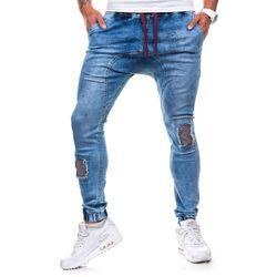 Spodnie męskie joggery ATHLETIC 0487 niebieskie - NIEBIESKI