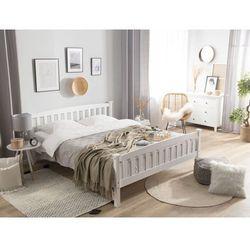 Łóżko drewniane 180 x 200 cm białe giverny marki Beliani