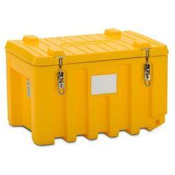 Cemo Pojemnik uniwersalny z polietylenu, poj. 150 l, wózek, żółty. optymalne wymiary