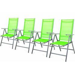 Komplet 4 krzesła aluminiowe Garth rozkładane ogrodowe zielone