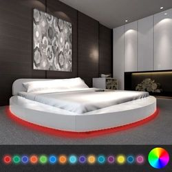 Vidaxl okrągłe łóżko z materacem i led 180 x 200 cm, białe