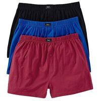 Szerokie bokserki (3 pary)  czarny + niebieski + czerwony marki Bonprix