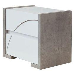 Vente-unique.pl Stolik nocny uram - 2 szuflady - kolor: biały i lakierowany beton