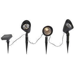 Qazqa Zestaw 3-pinowych spotów czarnych z diodą led ip44 solar - sunshine