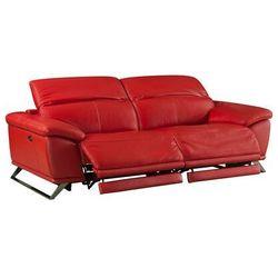 Sofa 3-osobowa z elektryczną funkcją relaksu ze skóry AZIDEE - Kolor czerwony