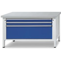 Stół warsztatowy z szufladami XL/XXL, szer. 1500 mm, 3 szuflady, blat z okładzin