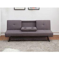 Rozkładana kanapa z tkaniny prague z opuszczaną środkową częścią oparcia - kolor: szary marki Vente-unique