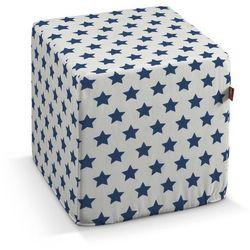 pufa kostka twarda, granatowe gwiazdy na białym tle, 40x40x40 cm, ashley marki Dekoria