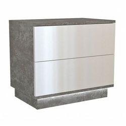 Loftowa szafka nocna Aleva 3X - beton+biały połysk, S2 BETON BIEL POŁYSK