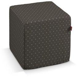 pufa kostka twarda, kropki czarno-srebrne, 40x40x40 cm, wyprzedaż do -30% marki Dekoria