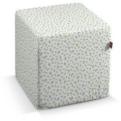 pufa kostka twarda, turkusowo-zielone kwiatuszki na jasnym tle, 40x40x40 cm, wyprzedaż do -30% marki Dekoria