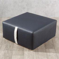 Dekoria pufa z rączką, granatowa czerń (eko-skóra), 65x65x30cm, Eco-leather do -30%