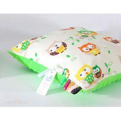 poduszka minky dwustronna 40x40 sówki kremowe / limonka marki Mamo-tato