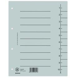Przekładki DONAU, karton, A4, 235x300mm, 1-10, 10 kart, szare