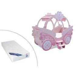 Łóżko princesse - 90 × 190 cm - różowy + materac zeus 90 × 190 cm marki Vente-unique