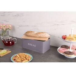 Metalowy chlebak baltik z drewnianą deską do krojenia, 2w1 - kolor szary marki 5five simple smart