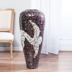 wazon suri ciemnobordowo-biały, 100 cm, 100cm marki Dekoria