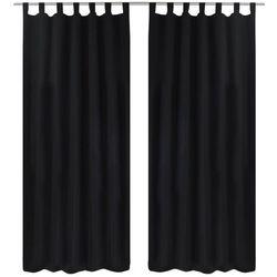 Vidaxl czarne atłasowe zasłony z pętelkami 2 szt. 140 x 175 cm