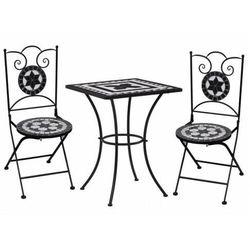Czarno-biały 3-cz. mozaikowy zestaw mebli – Farren
