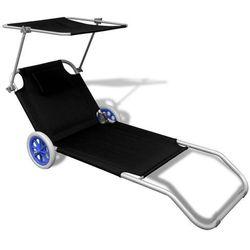 vidaXL Składany leżak z zadaszeniem i kółkami, aluminiowy, czarny