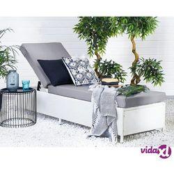 Beliani rattanowa leżanka ogrodowa biała - leżak - plażowy - tarasowy - turin (4251682217132)