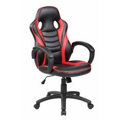 Fotel gamingowy, kubełkowy, obrotowy, dla gracza, czarny, czerwony marki Modernhome