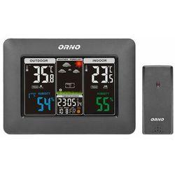 Orno-polska sp. z o.o. Bezprzewodowa stacja pogodowa z pomiarem temperatury i wilgotności, zewnętrznej i wewnętrznej, czarna or-sp-3101/b