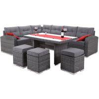 Narożnik technorattanowy home&garden virginia glass grey / grey + darmowy transport! marki Home&garde