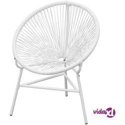 vidaXL Krzesło ogrodowe, rattanowe, białe (8718475972853)