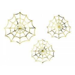 """Partydeco """"dekoracje papierowe - pajęczyny, złoty (1 karton / 50 op.) (1 op. / 3 szt.)"""""""