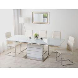 Beliani Stół do jadalni biały stal nierdzewna 180/220 x 90 cm rozkładany hamler