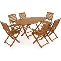 Wideshop Meble ogrodowe drewniane zestaw 1 stół + 6 krzeseł