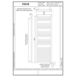 Thomson heating Grzejnik łazienkowy york - wykończenie proste, 600x1800, biały/ral