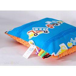 poduszka minky dwustronna 40x40 auta niebieskie / pomarańcz marki Mamo-tato