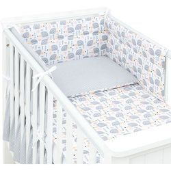 3-el dwustronna pościel dla niemowląt jeżyki szare / kropki szare do łóżeczka 70x140 cm marki Mamo-tato