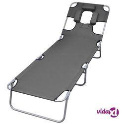 Vidaxl składany leżak z zagłówkiem i regulowanym oparciem, szary (8718475617716)
