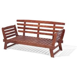 Beliani Sofa ogrodowa drewniana ciemnobrązowa regulowane podłokietniki portici