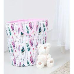 MAMO-TATO Dwustronny kosz na zabawki Piórka morskie / róż