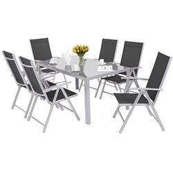 Meble ogrodowe aluminiowe corfu basic silver / black 6+1 marki Home&garden