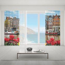 Zasłona okienna na wymiar komplet - CITY OF TULIPS