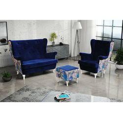 """Zestaw """"RIKI"""" sofa + fotel+podnóżek - platynowy"""